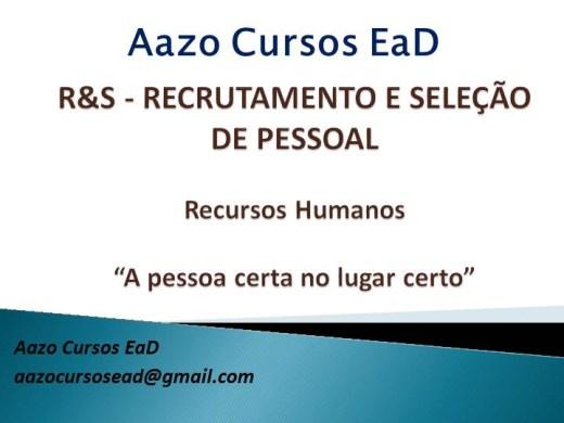 Curso Online de R&S - Recrutamento e Seleção de Pessoal