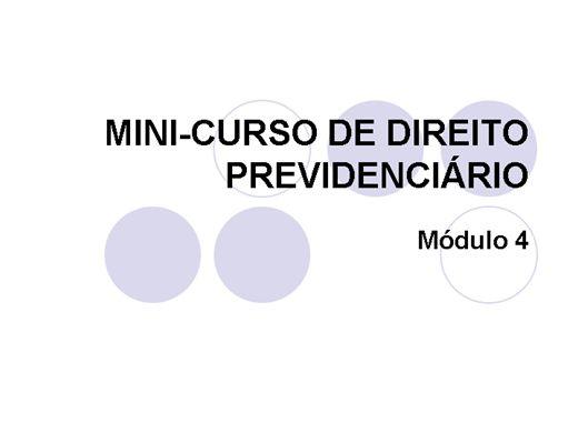 Curso Online de MINI CURSO DE DIREITO PREVIDENCIÁRIO