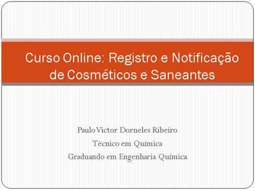 Curso Online de Curso Online: Registro e Notificação de Cosméticos e Saneantes