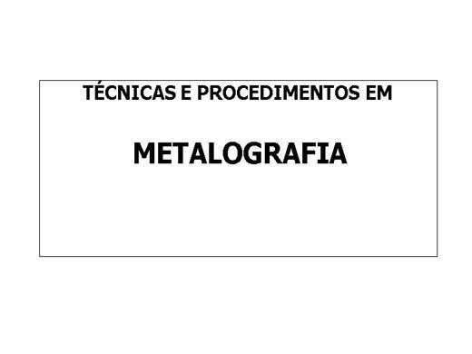 Curso Online de Metalografia