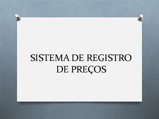 Curso Online de SISTEMA DE REGISTRO DE PREÇOS
