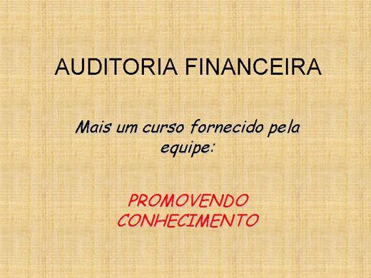 Curso Online de Auditoria Financeira