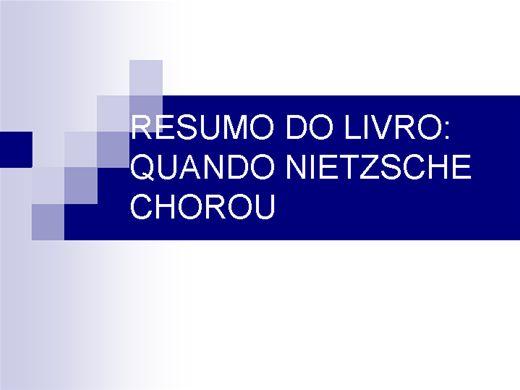 Curso Online de RESUMO DO LIVRO QUANDO NIETZSCHE CHOROU