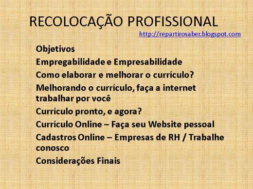 Curso Online de Recolocação Profissional entrar ou retornar ao mercado de trabalho