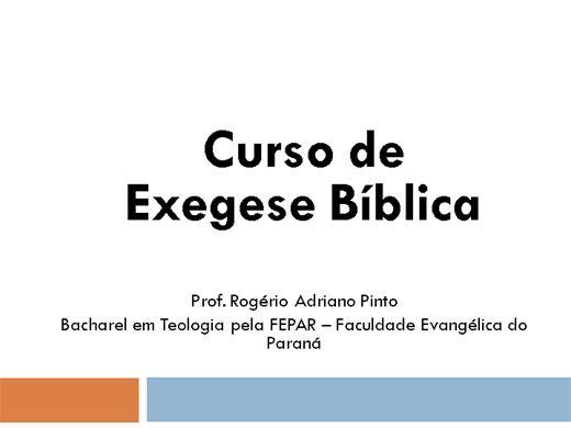 Curso Online de Exegese Bíblica