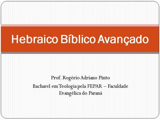 Curso Online de Hebraico Bíblico Avançado