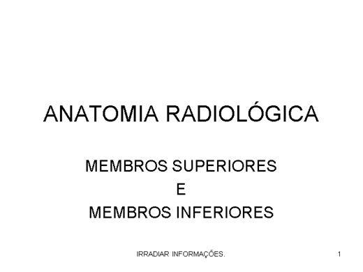 Curso Online de ANATOMIA RADIOLOGICA