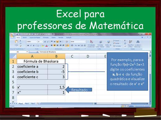 Curso Online de Excel para professores de Matemática