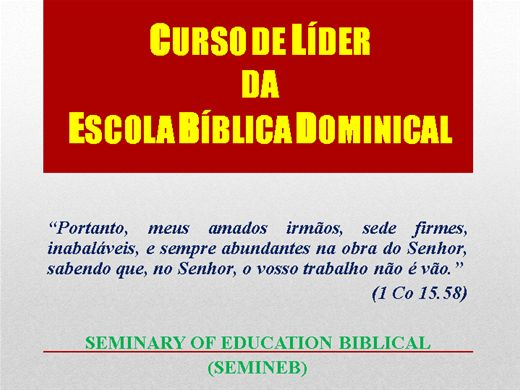 Curso Online de Líder da Escola Bíblica Dominical