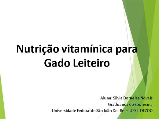 Curso Online de Nutrição Vitamínica para Gado Leiteiro