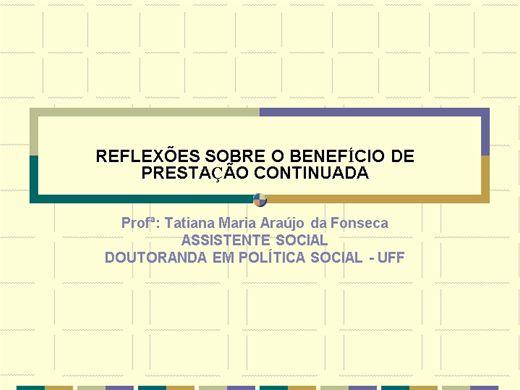 Curso Online de Reflexões sobre o BPC - Benefício da Prestação Continuada