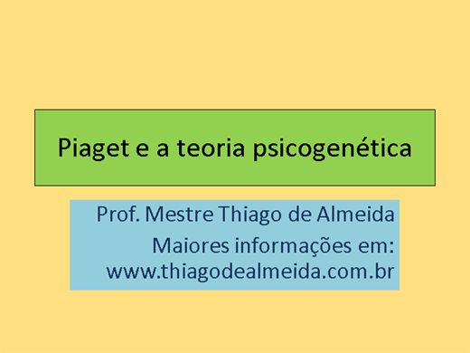 Curso Online de Piaget e a teoria psicogenética