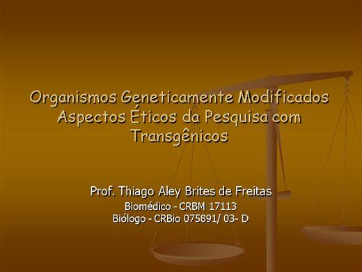 Curso Online de Bioética Aplicada aos Organismos Geneticamente Modificados