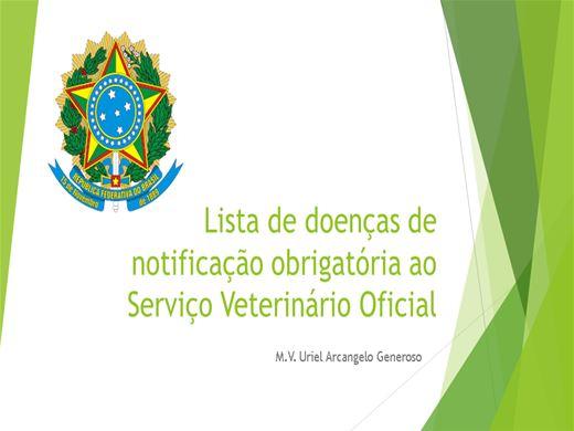 Curso Online de Lista de doenças de notificação obrigatória ao Serviço Veterinário Oficial