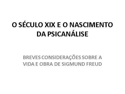 Curso Online de Freud- O séc. XIX e o nascimento da Psicanálise
