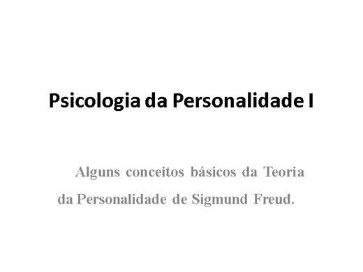 Curso Online de Psicologia da Personalidade na ótica de Freud