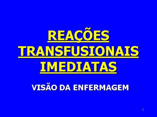 Curso Online de REAÇÕES TRANSFUSIONAIS IMEDIATAS