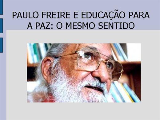 Curso Online de PAULO FREIRE E EDUCAÇÃO PARA A PAZ: O MESMO SENTIDO