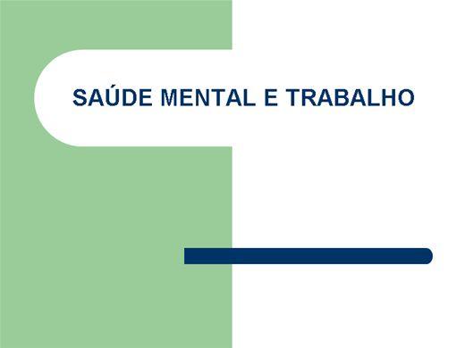 Curso Online de SAÚDE MENTAL E TRABALHO