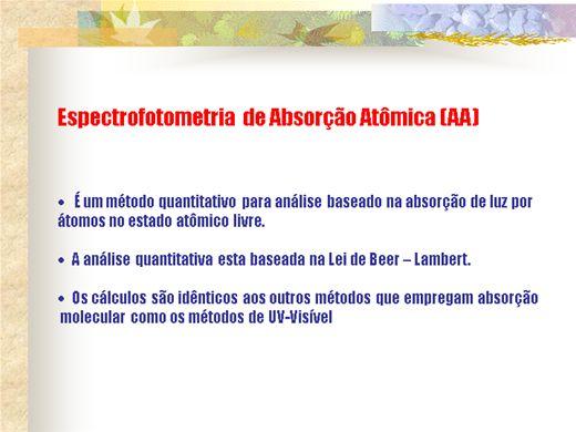 Curso Online de Espectrofotometria  de Absorção Atômica (AA)