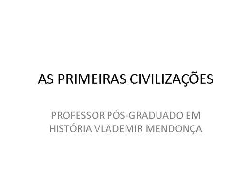 Curso Online de AS PRIMEIRAS CIVILIZAÇÕES DA HUMANIDADE