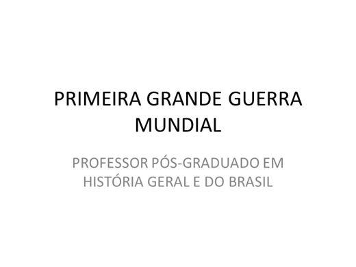 Curso Online de PRIMEIRA GRANDE GUERRA MUNDIAL