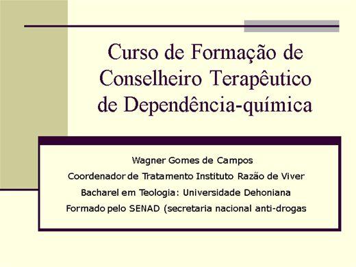 Curso Online de Formação de Conselheiros Terapêuticos