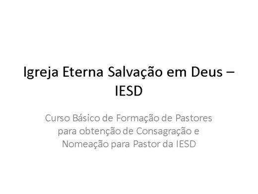 Curso Online de Formação Básica de Pastor da IESD