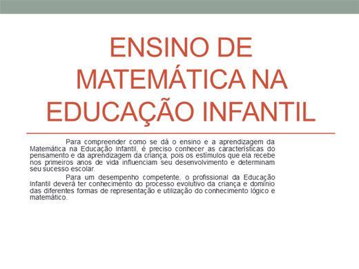 Curso Online de A MATEMÁTICA NA EDUCAÇÃO INFANTIL